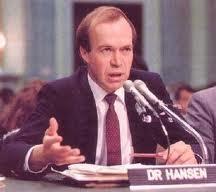جیمز هانسن در حال شهادت در کنگره آمریکا در سال 1988 در باره گرم شدن کره زمین
