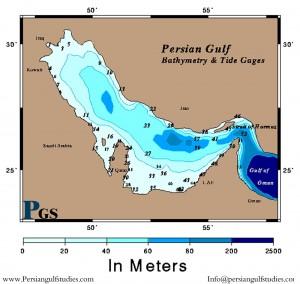 تصویر شماتیک عمق خلیج فارس