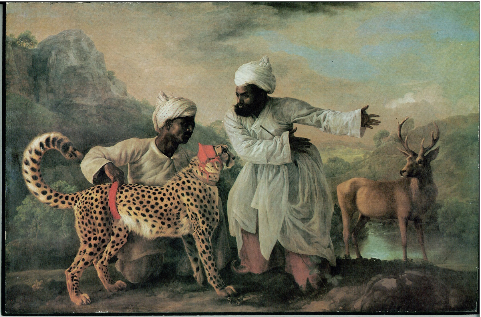 یوز بان و یوزپلنگ در شکارگاه تابلو نقاشی مربوط به پادشاهان گورکانی هند