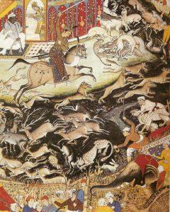 مینیاتور دیگری از یوز پلنگ دست آموز در شکار گاه شاهان